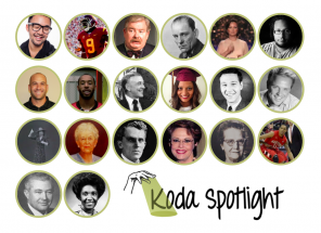 "[Image description: Four rows of circular portraits of various people in both black and white or color. At the end of the fourth row on the right a hand, outlined in black, signs ""Spotlight"". A yellow shaft of light emanates from the palm, creating a spotlight. Black text to the right reads ""Koda Spotlight"".]"