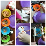[Image description: A pic stitch comprised of 5 photographs displays step by step how to put together a marshmallow snow person. The portrait oriented photo to the left shows 4 different colored bowls with different candies in each next to a pile of skewers. The next photo shows marshmallows being placed one on top of another onto skewers, then decorated with candy and pretzels. The last photograph shows two completed marshmallow snow persons.]