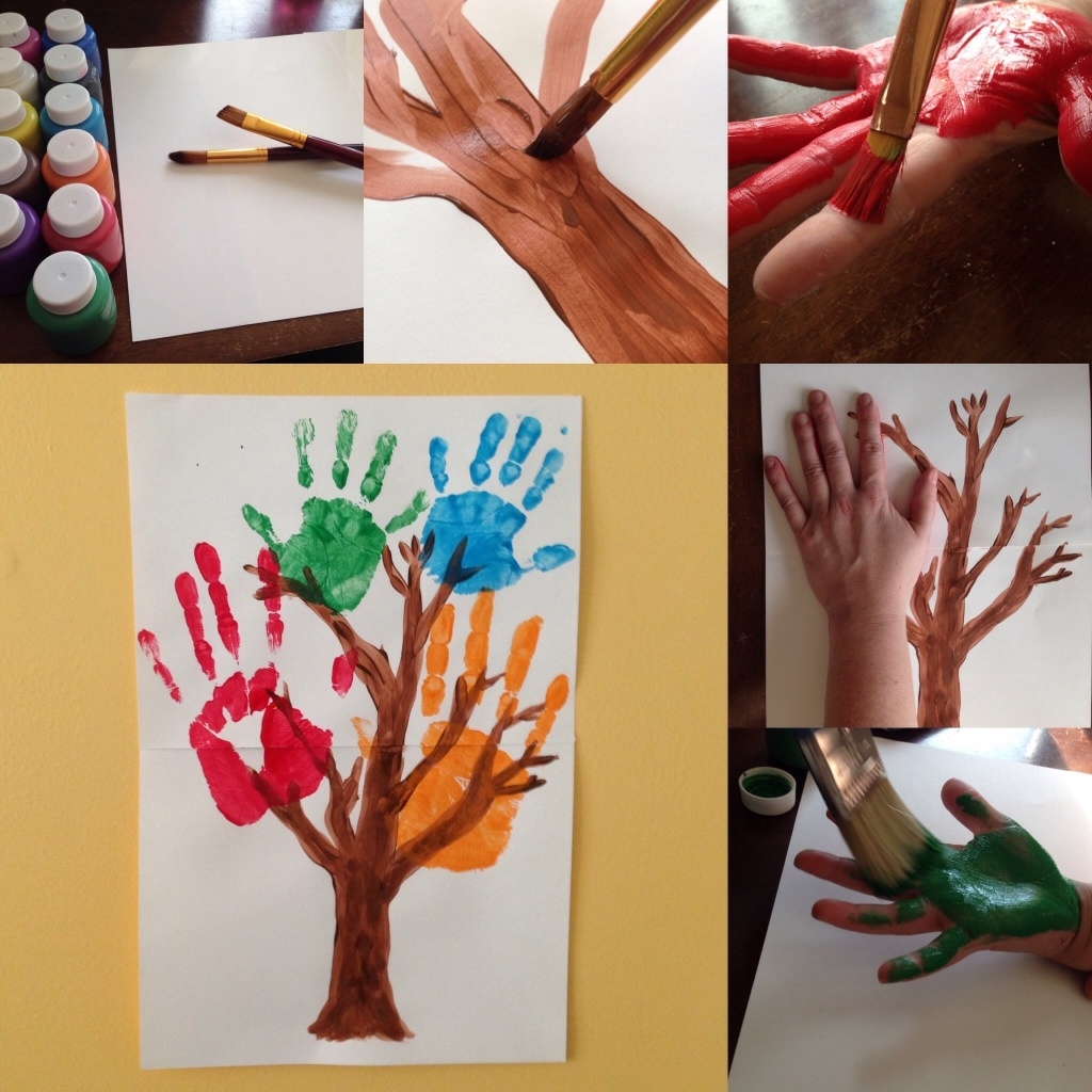 [Image Description: A collage of photos demonstrating the process of creating handprint family tree. In the first image, top left, are art supplies including bottles of colored paints, white paper, and two paintbrushes. In the second image top center, brown paint is applied using a paintbrush, forming a tree trunk and branches. In the third image, top right, red paint is applied to an adult palm. In the fourth image, center-right, an adult hand, is pressed, palm-side down on the white paper, on top of the painted tree branches. In the fifth image, bottom-right, green paint is applied to the palm of a child's hand. In the final large image, bottom left, red, green, blue, and orange large and small handprints form the leaves of a tree.]