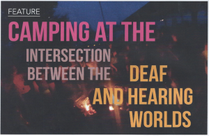 "Image of people around a campfire. Text reads ""Camping at the Intersection between the Deaf and Hearing worlds."""