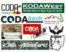 Image description: Various KODA camp logos grouped together. Shown: CODA Norge, KODA West, CSD KODA Camp, KODA Midwest, CODA UK & Ireland, CODA d.a.c.h, Camp Mark Seven, KODA Australia, and KODAWest.