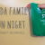 "Image Description: White text reads, ""KODA Family Fun Night, KODAheart, #k3famILY"" On the right, a white arm is extended with a tshirt bag. Another hand lifts a bottle to the bag."
