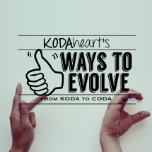 "[Image Description: A thumb, outlined in black, signs ""10"" with accompanying text that reads: ""KODAheart's [10] Ways to Evolve from KODA to CODA"" In the background, two hands make the K and C handshapes.]"