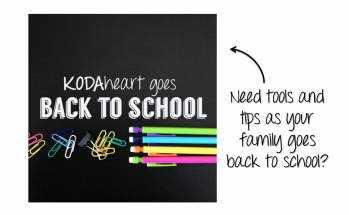 "On the left, a square image of white text hovering over colorful school supplies, including paper clips and mechanical pencils. The text reads: ""KODAheart goes Back to School"". On the right, black text on a white background reads ""Need tools and tips as your family goes back to school?"" A black arrow points from the black text to the square image."