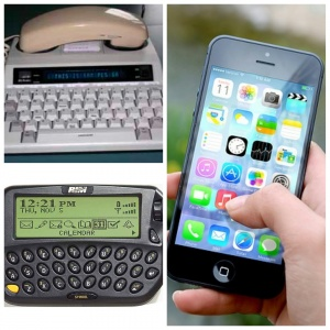 """[Image Description: A three piece photo is placed together comprised of three different pieces of technology. In the upper left hand photo an image of a TTY holding a phone in the cradle. The display screen shows the phrase """"This is sam please GA"""". The photo on the left shows a hand holding an IPhone displaying various apps. A RIM Wyntell pager occupies the bottom left photo.]"""