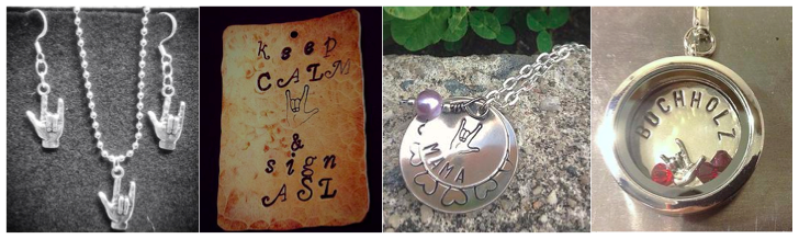 """[Image description: A banner image featuring four images of different pieces of silver jewelry. The first image contains an earring/necklace featuring the 'I-Love-You' handshape. The second image is of a rectangle pendant with the words """"keep calm and sign ASL"""" with an 'I-Love-You' handshape stamped into it. The third image contains a pendant consisting of two different sized solid circles, the smaller one on top is decorated with an 'I-Love-You' handshape, the larger circle is imprinted with the word """"mama"""". The last pane has an encased circular pendant with the name """"Buchholz"""" and an 'I-Love-You' handshape surrounded by three red beads beneath it. ]"""
