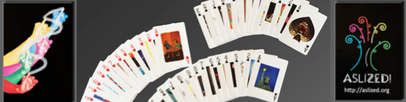 """[Image description: A banner with three images set on dark backgrounds. To the left, colorful artwork featuring a layered image of hands signing """"Draw."""" The center photo displays a bunch of cards fanned out to show the faces. On the right is the """"ASLized"""" logo, a colorful, artistic design of lines and swirls that form a tree. ]"""