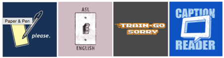"""[Image description: Four panels depicting different t-shirt designs. The first is a drawing of a pen and paper with the words """"Paper & Pen please."""" The second is a drawing of a light switch with the words """"ASL"""" on the top of the plate and """"English"""" on the bottom. The switch is in the on position. The third has the words """"Train-Go Sorry"""" in video game text. The last has a Closed caption symbol with the words """"Caption Reader"""" in the background.]"""