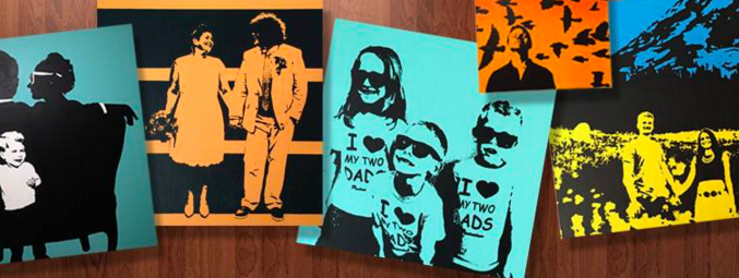 [Image description: Six different colored portraits in bright colors and black print are layered next to each other. The portraits feature children and adults in different poses.]