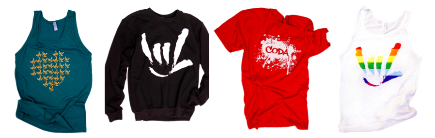 """[Image description: Four different articles of clothing are lined up side by side. On the left is a teal tank top with multiple stylized 'I-Love-You' handshapes in yellow in the shape of a heart across the chest. Next is a black sweatshirt with a stylized 'I-Love-You' handshape painted in white. Third is a red t shirt, a white splash of paint in the center with the word """"CODA"""" in the middle of the paint splatter in red. Last is a white tank top with a rainbow colored stylized 'I-Love-You' handshape.]"""