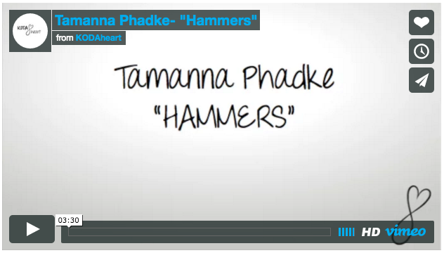 [Image Description: a screenshot of a video on Vimeo. Text reads Tamanna Phadke: 'Hammers']