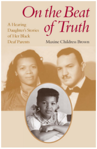 """Image description:""""On the beat of the truth"""" is written in maroon on top of a beige background. There are photos of three people, a woman and man all in beige coloring with a photo of a young child in black in white right below."""