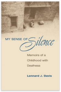 Image descriptions: My sense of silence is written in a blue font that sits ontop of a tan/creamy white background of a house taken from above. The top of the cover shows the bottom portion of a brick house house.
