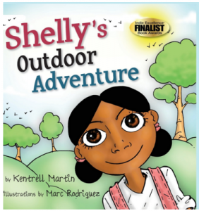 Image Description: Shelly's Outdoor Adventure title is in the upper left corner, Shelly a cartoon character is wearing a white shirt and pink backpack. Behind her are trees and small birds also drawn.