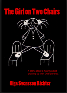 """Image Description: An all black background shows a white thin pencil drawing. """"The Girl on Two Chairs"""" is written in red above in sans serif font."""