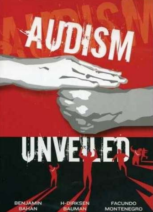 """[Image description: Movie cover for Audism Unveiled. On a red and black background, two hands form the sign """"oppression."""" Below, in red, several silhouetted figures stand with their arms raised. White text breaks up this images, reading, """"Audism Unveiled.""""]"""