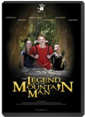 """[Image description: Movie cover for Legend of Mountain Man. The image at the center of the cover looks outward from a darkened cave. Visible at center are three white children, staring upward in awe. Yellow text at the bottom reads, """"Legend of Mountain Man.""""]"""