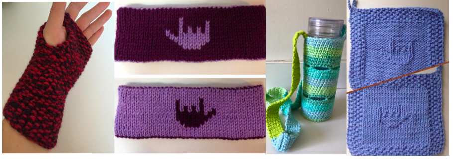 """[Image description: A banner image featuring four knitted products.The first image contains a fingerless glove.. The second image is of two purple headbands with the """"I-Love-You"""" handshape in the center of it. The third image contains a colorful knitted water bottle holder with a long strap for carrying. The last pane has two blue potholders with the """"I-Love-You"""" handshape in the center. ]"""