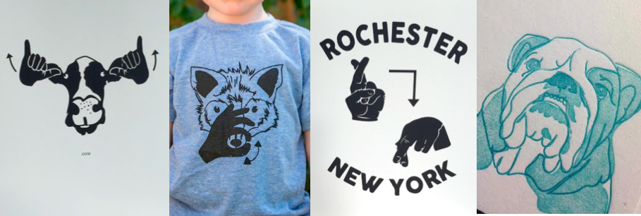 """ID:[Image description: Four different shirt logos are side by side. On the left is a cow with the sign for """"Cow"""" on a white background. Next is a blue t-shirt with a black fox signing the sign for """"Fox."""" Third are the words Rochester New York sandwiching the sign for """"Rochester"""" on the top and bottom. Last is a light blue image of a bull dog on a white background.]"""