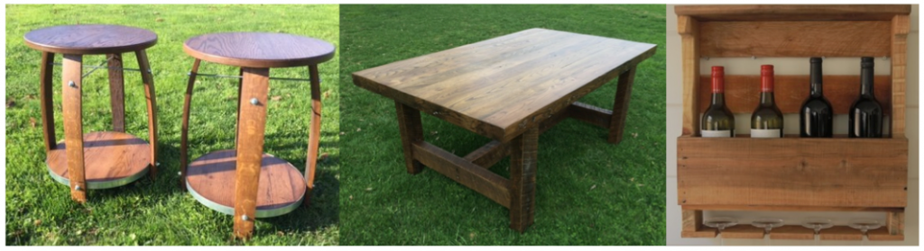 [Image description: Images of three different wooden objects are side by side. The first image is two circular end tables. The second image is a coffee table. The last image is a wine holder with four wine bottles in it. ]