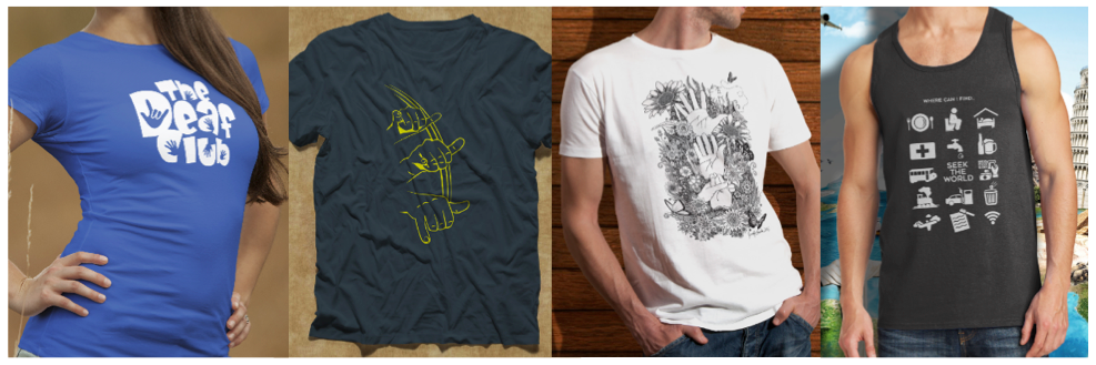"""[Image description: Four different articles of clothing are lined up side by side. On the left is a blue short sleeve shirt with the words, """"The Deaf Club"""" in white lettering.. Next is a navy blue short sleeve shirt with the sign for that in yellow outline. Third is a white short sleeve shirt with an image in black. Last is a black tank top with a variety of different travel images in white.]"""