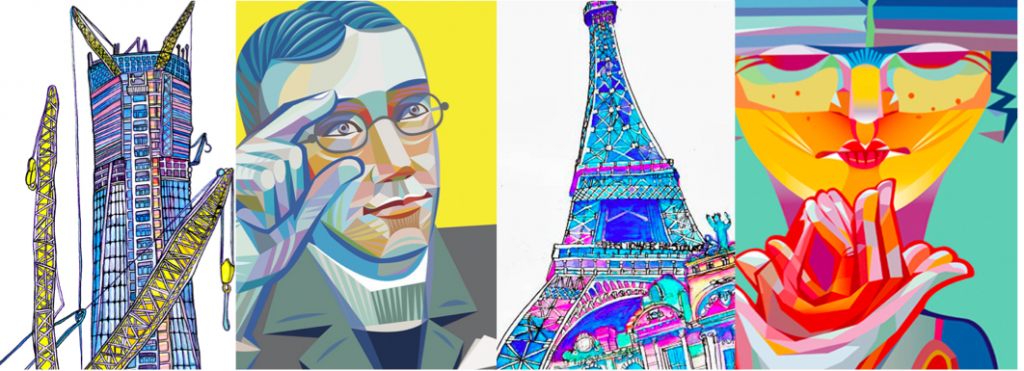 """[Image description: A banner image featuring four images of different pieces of watercolor artwork The first image contains a drawing of the World Trade Center building in the midst of construction.The second image is of George Veditz signing """"Gallaudet"""". The third image is of the Eiffel Tower. The last pane is a person signing """"flower bloom"""". ]"""