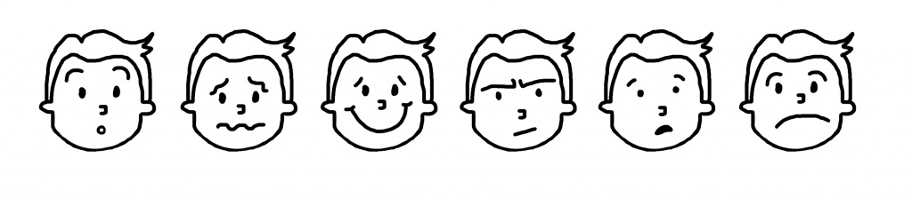 [Image description: A series of black and white line-drawings of child with short hair, with different expressions; surprised, worried, happy, quizzical, concerned, sad.]