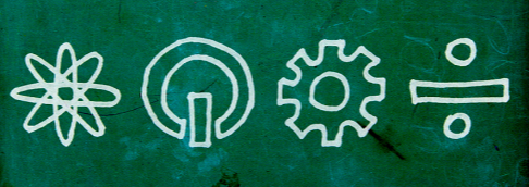 [Image description: A picture of the STEM logo. An atom, a power button, a wheel cog, and the division sign lined up, straight in a row. They are written in chalk on a blackboard]