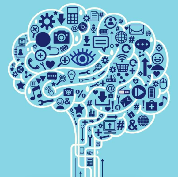 [Image description: A photo of a collage of several of smaller images, such as a camera, an eye, several arrows, a play and rewind button, and a calculator. All the little images are put together in such a way and outlined so that it looks like a brain and its stem. The images are a dark blue, the brain's outline is in white, and it rests on a light sky blue background.]