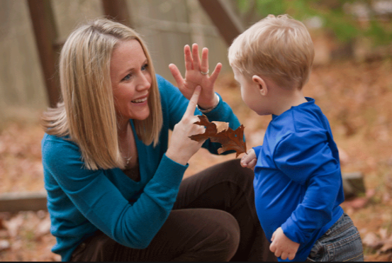 [image description: A picture of a woman crouching down in front of a toddler signing the word leaf in ASL. There are trees and leaves in the background.]