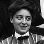 [Image Description: A black and white photograph shows a white woman wearing a black bow tie, white collar and looking towards her left]