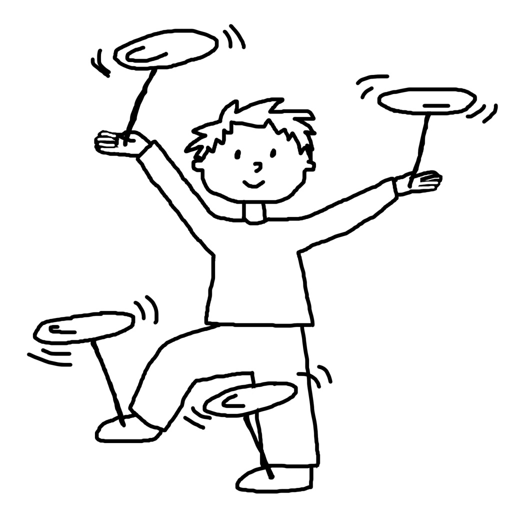 [Image description: A black and white line-drawing of child with short hair balancing four spinning plates on sticks using his hands and feet.]