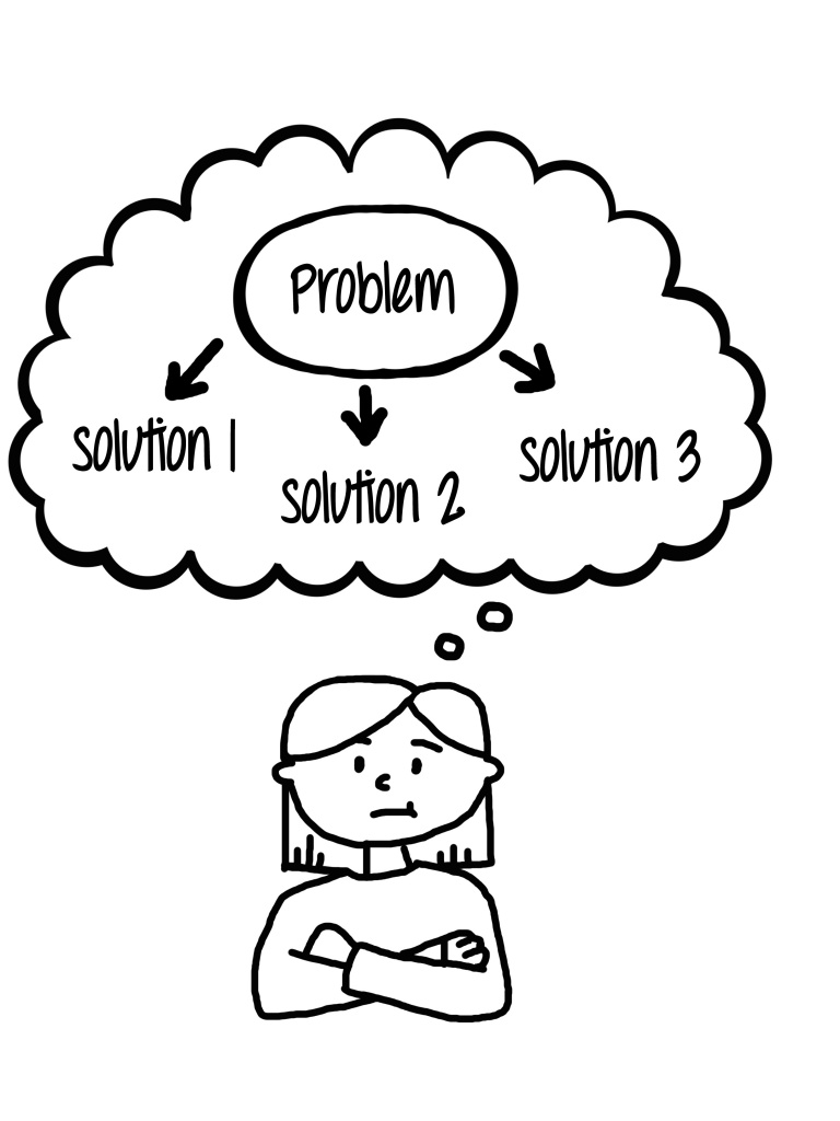 [Image description: A black and white line-drawing of child with short hair thinking about a problem and three different solutions to the problem. ]