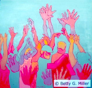 """[Image Descriptions: A colorful painting with a blue background of several arms and hands in the air similar to """"Deaf applause"""". There are three faceless figures located in the middle of the painting, the middle figure dons a hat and facial hair.]"""