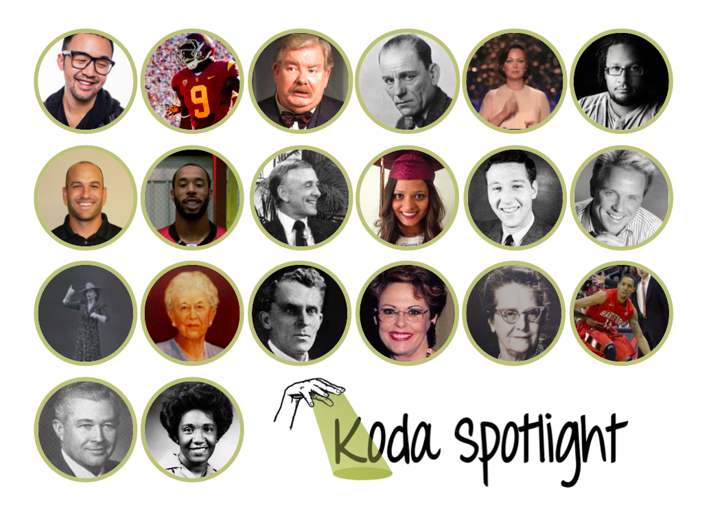 """[Image Description: Rows of circle shaped portraits fill the frame, each photo is of a different person. At the bottom is a fore-arm outlined in black signing """"spotlight"""". A yellow beam of light emanates from the palm, creating a spotlight on the black text to the right """"Koda Spotlight"""".]"""