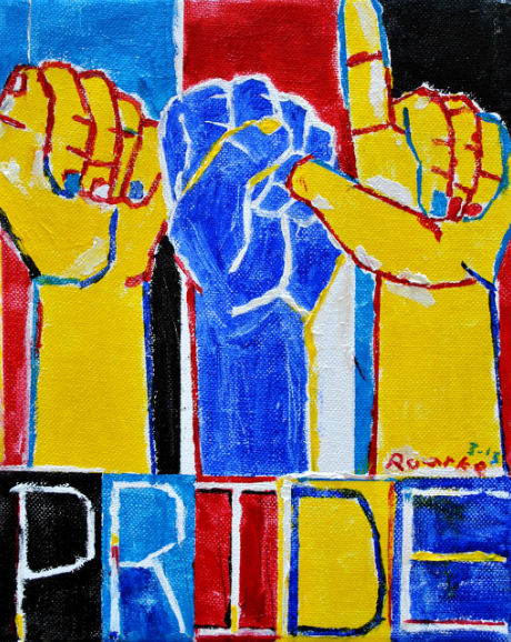 """[Image Description: A Nancy Roarke painting consisting of yellow, blue, black and red colors. Three forearms take up mos ot the painting""""ASL"""" in handshapes are above the painted word """"Pride"""". """"ASL pride"""""""