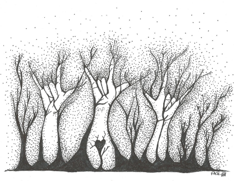 """[Image Description: A black and white drawing of three """"ILY"""" hands emerging from the ground, resembling tree trunks with branches form a treeline. One hand in the middle of the image has a heart on the forearm.]"""