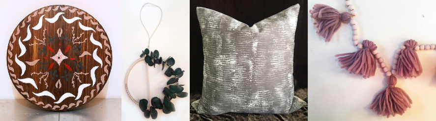 [Image description: First photo is a painted wood table top with a painted design. Next is a christmas ornament with created with eucalyptus. A grey pillow is to the right and finally a beaded garland with purple tassels.]
