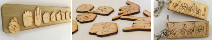"""[Image description: Three photos depict three different woodworking items. The first photo is a wood placard with ASL letters spelling """"Sebastian"""". Next is various wood cutouts of ASL fingerspelling letters- S, A, I, M, Y and an ILY sign. Last is two keychains with the words KERI and LUKE in ASL, and """"Be you"""" and """"Stay cool"""" in pyrography english at the bottom the keychain.]"""