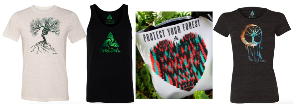 """[Image description: First item is a white t-shirt with a large tree with roots extending downward. Next is a black tank top with the forest souls logo in green. To the right is a bag with pink, blue, and black trees form a heart with the words """"Protect your forest"""" at the top and a black t-shirt with a moon and tree representing a dream catcher with feathers hanging below in gradient rainbow colors in the middle.]"""