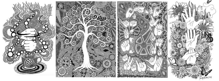 """[Four black and white hand drawn pieces of art are lined up one right next to the other. The first one is of two hands signing """"COFFEE"""" in ASL in a steam cloud rising from a cup of coffee. Next is a tree, the third is various ASL handshapes surrounded by different shapes. The fourth is the ASL word """"GROW"""" broken down into three steps with flowers, plants, and butterflies.]"""