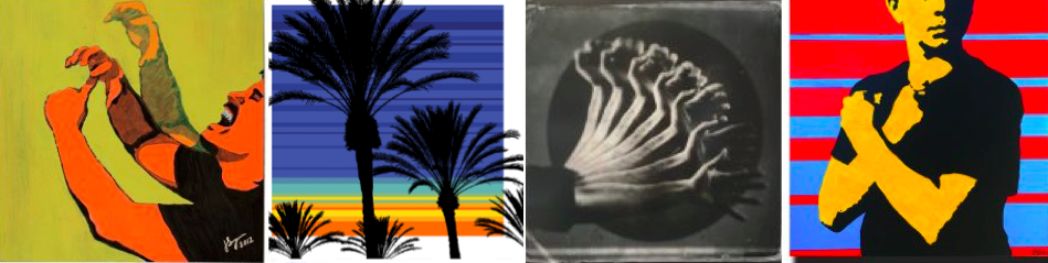 """[Image description: Four pieces of art are lined up next to each other. The first one is a side view of a person signing the ASL word """"CHAMP"""". Next is a grouping of black palm-trees with a colorful sunset in the background. To the right is a black and white depiction of a left hand in motion expressing the ASL word """"SIGN"""". The last piece of art is in classic pop art of a figure signing """"LOVE"""" with a striped red and blue background.]"""
