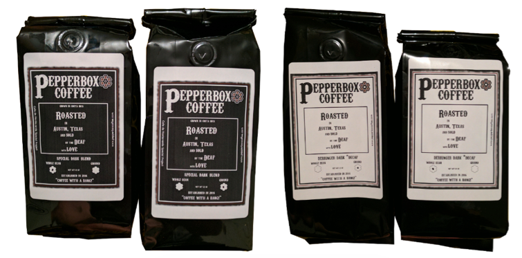 [Image description: Four bags of coffee are lined up, all with the Pepperbox Coffee logo and coffee name on the front. The two on the left have a black label with white print, the ones on the right have a white label with black print.]