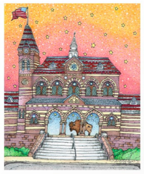 [Image description: a colorful piece depicting Chapel Hall at Gallaudet University, with a Bison standing between arches.]