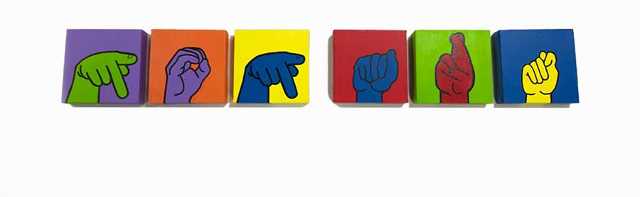 """[Image description: Six different colored tiles, are lined up horizontally each with a different colored hand spelling out """"pop art"""" in American Sign Language.]"""