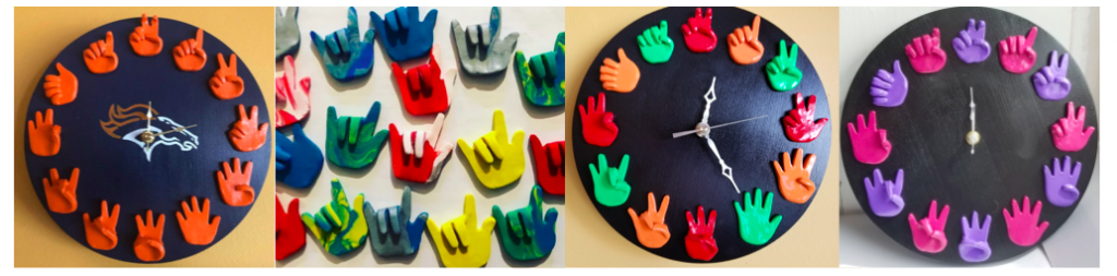 [Image description: A variety of clocks with colorful ASL number handshapes instead of numbers. The first clock is blue with orange handshapes. In the middle where the clock hands are located is the image of Houston Colts logo. The next image is of a different colored ILY hands. The third clock is black with red, orange and green ASL number handshapes. The last clock is also black with purple and pink ASL number handshapes.]