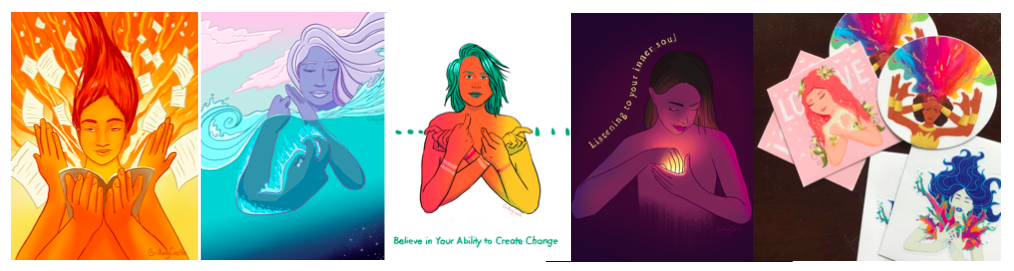 """[Image description: Five photos of various artworks. The first image is of a person doing the ASL sign for """"flying through book"""" with the story pages flying around them. The next piece is a person doing the ASL sign for """"falling for"""" into an ocean. The third image is a torso of an ombre colored person doing the ASL sign """"CHANGE"""". To the left of the person are blue dots in a line , to the right the dots are raindrops. The text in blue at the bottom of the image reads """"Believe in your ability to create change"""". The next photo is a darkened image of a person looking downward doing the ASL sign """"INSIDE"""" close to her heart. The sign illuminates the image. Light colored text to the left outlining the edge of the person reads """"Listening to your inner soul."""" The last photo is a collection of three different stickers portraying different images. The image on the left is of a person wearing a flower crown signing """"LOVE"""" with the word """"love"""" in the background. The second sticker is person signing """"IMAGINE"""" with a rainbow of color emerging from the sign. The last sticker is a person signing """"INSPIRE"""" with small splashes of color emitting from each hand.]"""