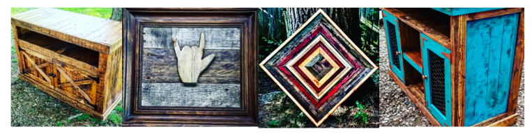 [Image description: Four photos of various wood items. The first photo is a burnt wood finished hutch with an opening under the tabletop and two barn style front doors. The next image is of a light wood ILY with a grey and brown wood behind it making the ILY pop out. It is framed in a dark brown. The next image is of various colorful contrasting pieces of wood in a concentric pattern. The last photo is a cabinet with two framed doors with chicken wire on the front. Parts of the cabinet is covered in blue, the hardware (hinges and knobs) are red.]