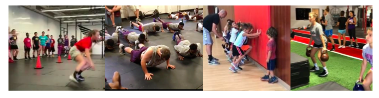 [Image description: Four images of groups of people of varying ages performing different exercises. In the first image a line of people in the background watch one person engaged in movement. The second photo is of a group performing pushups. The next photo has a line of young children with their hands on a wall kicking up their feet while an adult looks on from behind. One child in front of the line does not have his hands on the wall, instead looking at the child on next to them. The last photo shows a group lifting kettlebells in a mirrored room.]