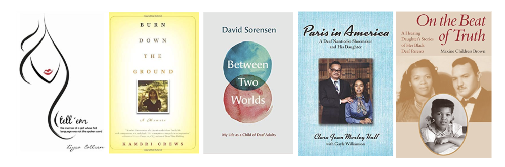 [Image description: A row of five different book covers. First is the cover for Tell 'em, then Burn down the ground, followed by Between two worlds and Paris in America, and lastly is On the beat of truth.]